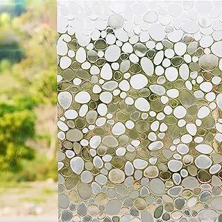 Window Film Non Adhesive Frosted Film Privacy Window Sticker Cobblestone (17.7 Inch x 6.5 Feet)