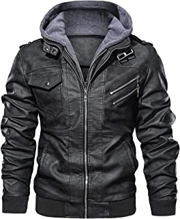 Men's Casual Stand Collar PU Faux Leather Zip-Up Motorcycle Bomber Jacket with a Removable Hood
