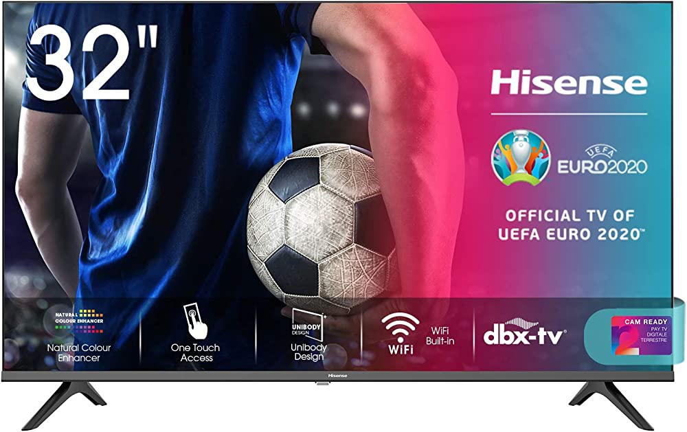 Hisense,  smart tv led hd 32 pollici, usb media player, tuner dvb-t2/s2 hevc main10 32AE5500F