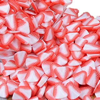 100g Fruit Lollipop Ice Cream Flower Slime Charms Resin Flatbacks Polymer Clay Sprinkles Decoration Filler DIY Mud Particles Scrapbook Phone Case Nail Art Miniature Fairy Garden DIY (strawberry8)
