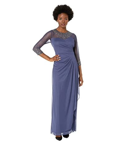 Alex Evenings Petite Long A-Line Dress with Beaded Sweetheart Illusion Neckline (Violet) Women