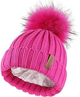 Best Kids Winter Knitted Pom Beanie Bobble Hat Cotton Lined Faux Fur Ball Pom Pom Cap Unisex Kids Beanie Hat… Review