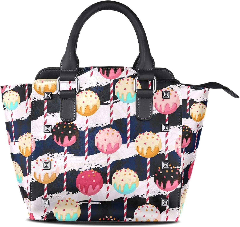 My Little Nest Women's Top Handle Satchel Handbag Lollipop Stripes Ladies PU Leather Shoulder Bag Crossbody Bag