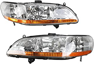 MILLION PARTS 2PC Front Left Right Car Headlights OE Style Replacement Headlamps Chrome Housing & Amber Reflector fit for 1998 1999 2000 2001 2002 Honda Accord