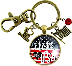 I Love My Soldier Keychain American Flag USA Patriotic Jewelry For Women Vintage Style Bronze Pendant