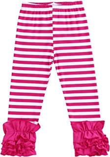 Little Girl's Double Icing Ruffle Leggings Triple Cotton Boutique Elastic Waist Slacks Joggers Activewear
