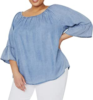 Women's Plus Size Soft Peasant Top Denim 3/4 Flounce Sleeves Blouse Shirt on or Off Shoulders