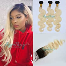 Aprilhair Pre-plucked 3 Bundles With 4x4 Lace Closure Dark Root 1B/613 Honey Blonde 2 Tone Ombre Unprocessed Brazilian Virgin Human Hair Weave Body Wave With Baby Hair(18+18 20 22)