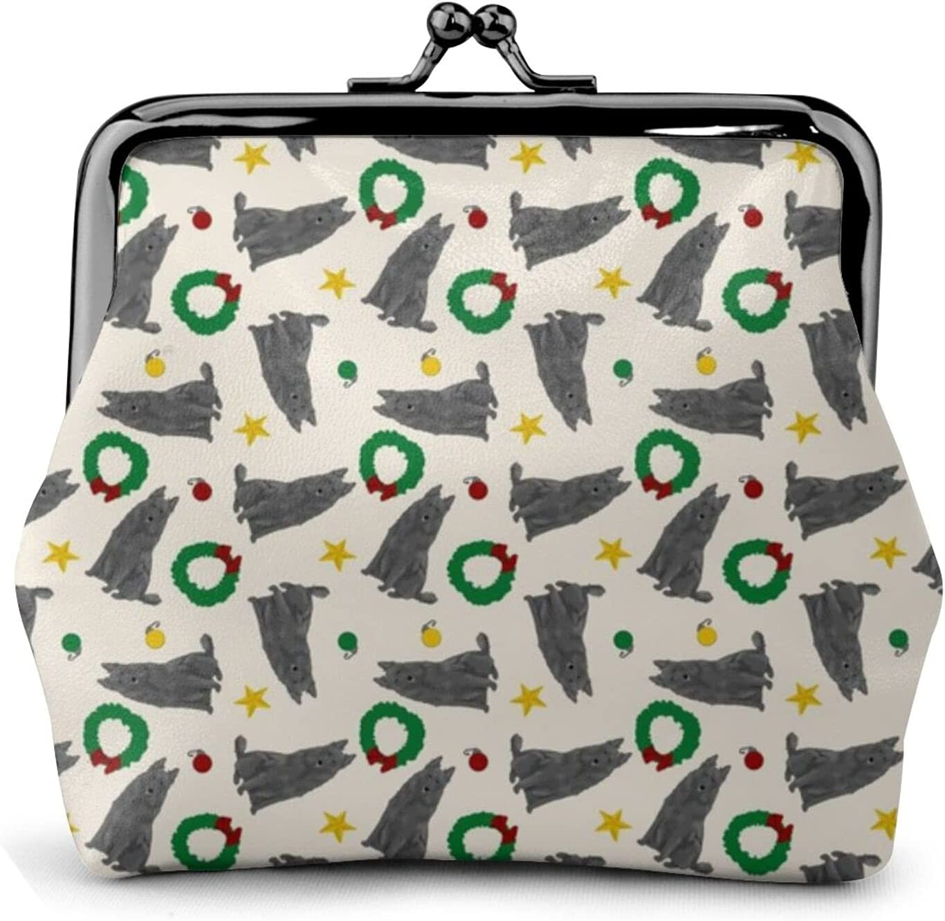 Belgian Sheepdogs Christmas 386 Coin Purse Retro Money Pouch with Kiss-lock Buckle Small Wallet for Women and Girls