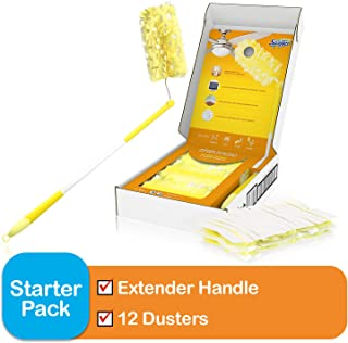 Swiffer Dusters Heavy Duty Extender Handle Starter Kit (1 Handle, 12 Dusters)