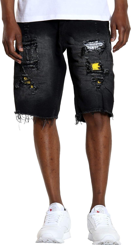 VIM Mens Bandana Insert Ripped Shorts
