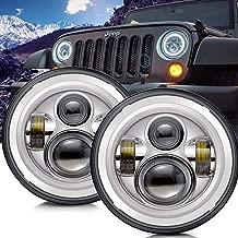 TURBOSII DOT Approved 7'' Round Chrome LED Headlight with High Low Beam White DRL Amber Turn Signal for Jeep Wrangler JK TJ LJ CJ Hummer H1 H2 (Pair)