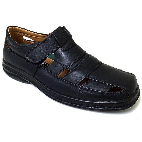 85f7852da46d Veeko A2V7203B Men s Closed Toe Dress Sandals Fisherman Huaraches Hook and Loop  Casual Slip-on