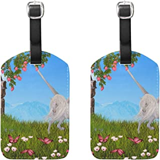 MASSIKOA Unicorns Floral Butterfly Castle Cruise Luggage Tags Suitcase Labels Bag,2 Pack