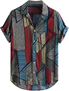 Men Fashion Short Sleeve Shirt Tops, Male Color Patchwork Printed T-shirt Blouse Tunic Tops Summer Loose Buttons Casual Sw...