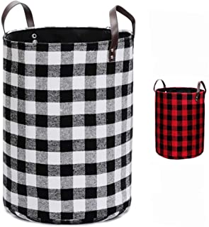 Thick Felt Fabric Laundry Storage Basket Dirty Clothes Toys Sundries Storage Bin with Leather Handle for Bedroom, Living R...