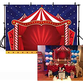 Circus 10x12 FT Photography Backdrop A Circus Sign Baroque Style Big Top Enjoyment Theme Marquee Nightlife Retro Background for Baby Shower Bridal Wedding Studio Photography Pictures Yellow White Re