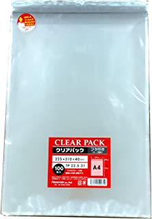 カクケイ OPP袋 クリアパック フタ付 テープ付 30μ 100枚 TP22.5-31