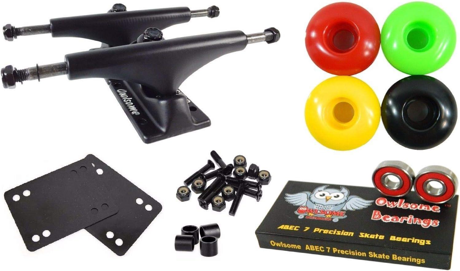 Columbus Mall Rasta 5.0 Black Skateboard Trucks Manufacturer regenerated product + Bearing 52Mm Wheels 7 ABEC