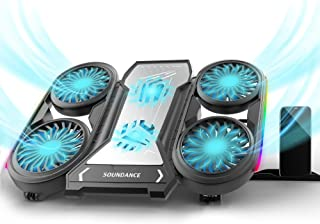 SOUNDANCE Laptop Cooling Pad, Laptop Cooler with 6 Fans Prevent Overheating, Adjustable Height with RGB Lights Phone Holde...