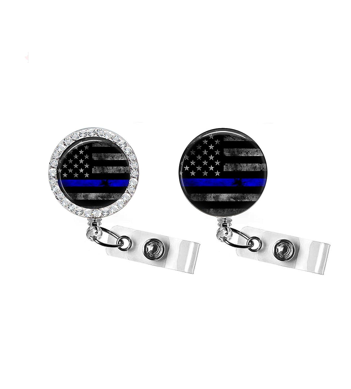 THIN BLUE LINE RETRACTABLE BADGE HOLDER SU - New sales favorite REEL POLICE