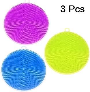Amhii 硅胶刮花海绵 3 件套清洁盘、*、食品级、无霉、不粘洗碗布刷(粉色) 绿色 JP1024008