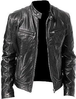 Mens Slim Genuine Lambskin Leather Designer Motorcycle Jacket LF654