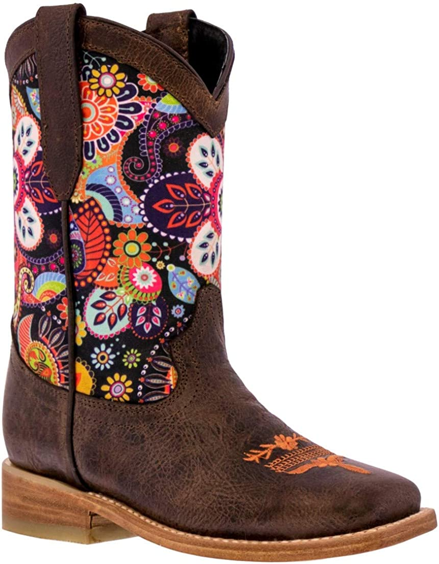 Kids Western Cowboy Boots Paisley Floral Design Leather Square Toe