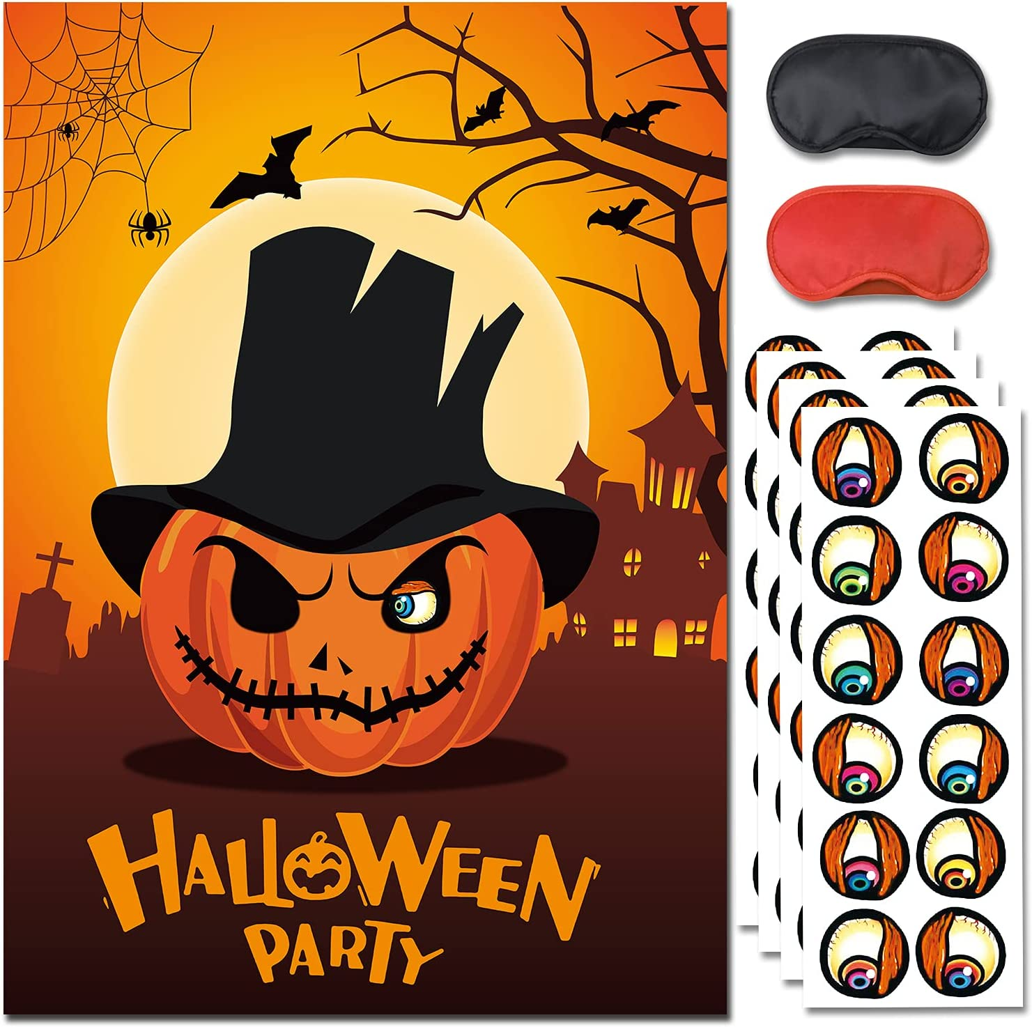 Buy Halloween Party Game for Kids,Pin The Eyes on The Pumpkin,Pin ...
