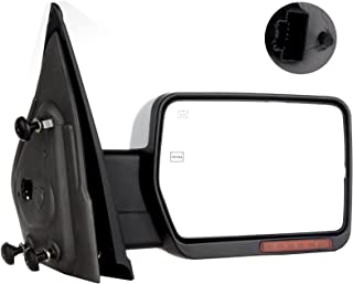 SCITOO Towing Mirror Passenger Side fit Ford Chrome Automotive Exterior Mirror fit 2004-2014 F-150 with Amber Turn Signal and Puddle Lights Power Controlling Heated and Manual Folding Features