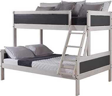 DONCO TWIN/FULL PANEL BUNK BED BUNKBED, White Wash/Dark Grey