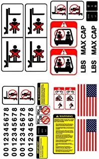Bill's Lift Universal Forklift Decal Kit for Industrial Lift Trucks and Equipment, OSHA Compliant Detailed Safety Stickers with Cautions, Warnings & More