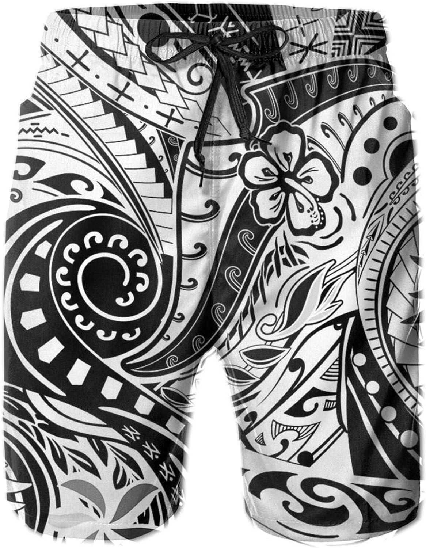 Wozinber Hawaiian Polynesian Tribal Board Shorts Mans Swim Trunks Quick Board Shorts