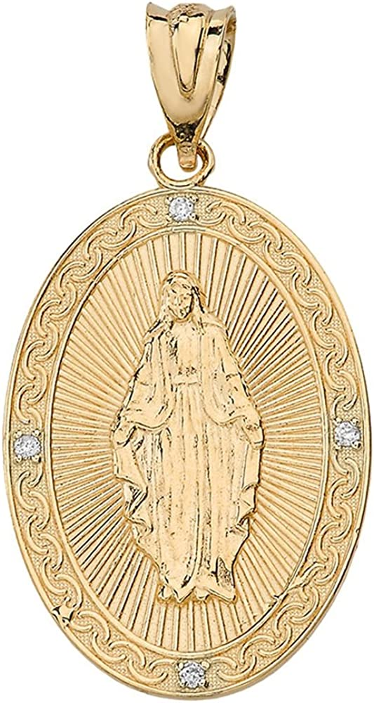 Religious Jewelry by FDJ 14k Yellow Gold Blessed Virgin Mary Miraculous Oval Medal Diamond Pendant (1