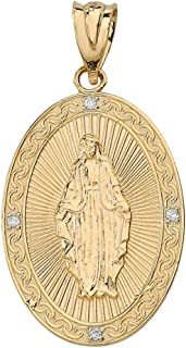14k Yellow Gold Blessed Virgin Mary Miraculous Oval Medal Diamond Pendant (1