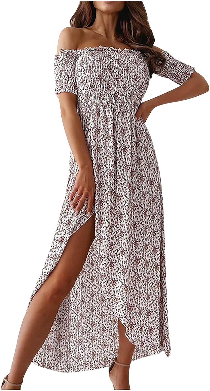 Sun Dresses Women Summer Fashion Women's One Shoul Printing Loose Casual T-Shirt Split Fork Dress Womens Dresses White