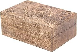 KayJayStyles Hand Carved Jewelry Trinket Keepsake Wooden Storage Box (Medium, Celtic Cross)
