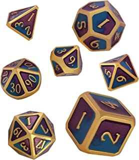 7 Poliedrici Dice da Gioco per Dungeons/&Dragons Set Dadi Metallo Vuoto Forma di Drago Dadi da Gioco Rpg Dungeons Dragons Gioco da Tavolo Bronzo Antico Schleuder D/&D Dadi Set