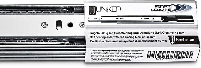 JUNKER 1 paar volledig uittrekbare ladegeleiders KV1-45-H45- L650-SC 650 mm zelfsluitend, met demping (softclose) laderail...