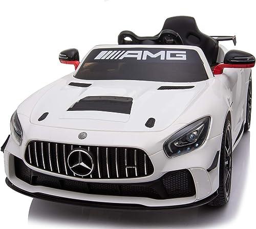 ahorrar en el despacho RIRICAR Vehículo eléctrico Mercedes-Benz GT4, GT4, GT4, blanco, con Licencia Original, batería, Puertas Que se abren, Motor 2X, batería de 12 V, Control Remoto de 2.4 GHz, Ruedas de EVA Suave  garantía de crédito