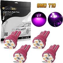 Partsam 4pcs Pink Purple T10 Miniature Wedge PC194 168 W5W LED Light Bulb 4-SMD Instrument Panel Gauge Cluster Dash Lighting Indicator Lamps