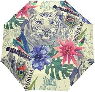 Automatic Umbrella India Style Tiger Windproof Compact Folding travel Umbrellas