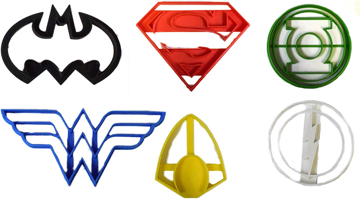 JUSTICE LEAGUE SUPERHEROES DC COMICS MOVIE SET OF 6 SPECIAL OCCASION COOKIE CUTTER FONDANT BAKING TOOL 3D PRINTED USA PR1001