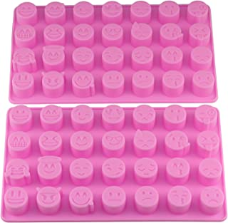 Mujiang 28-cavity Emoji Emoticon Cake Moulds Smiley Silicone Candy Baking Chocolate Molds Pack of 2