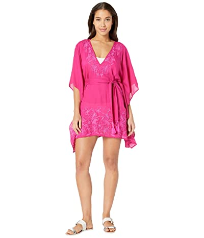 Trina Turk Rio Embroidered Caftan Cover-Up (Berry) Women