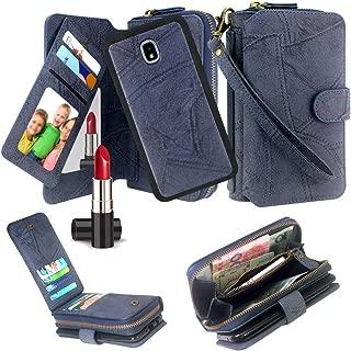Harryshell Zipper Wallet Case Purse Card Slots Mirror for Samsung Galaxy J3 2018/J3 Orbit/Achieve/J3 Express Prime 3/J3 Prime 2/J3 Emerge 2018/Amp Prime 3/J3 Eclipse 2/Sol 3/J3 Aura/Star (Blue)