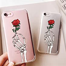 iPhone 6 Plus Case,iPhone 6 Case,Awesome Skull Skeleton Rose Flowers Love Soft Flexible Rubber Drop Protection Case Cover for iPhone 6/6S Plus