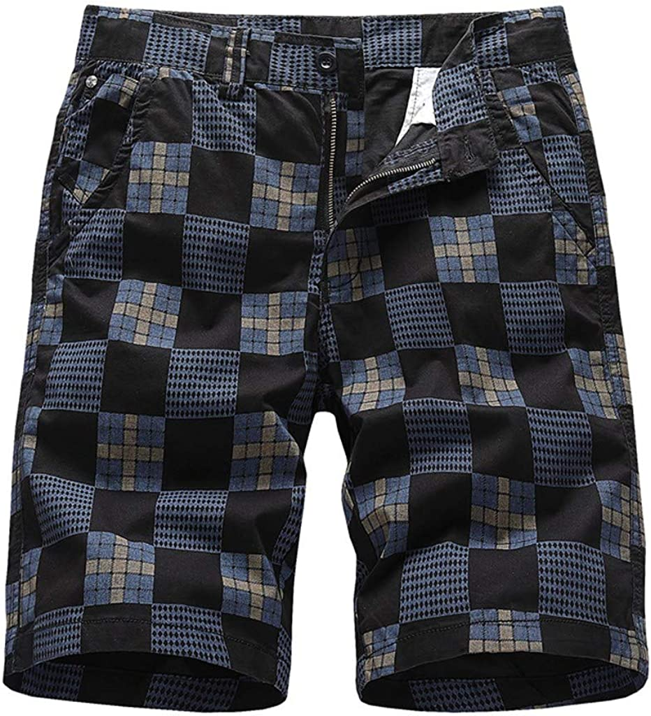 Gergeos Men's Retro Plaid Casual Shorts Summer Outdoors Sport Beach Shorts