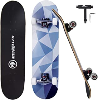 """METROLLER Skateboard, 31""""x 8"""" Pro Complete Standard Skate Boards for Girls Boys Beginner, 7 Layer Canadian Maple Double Kick Concave Skateboards for Kids Youth Adult Teens"""