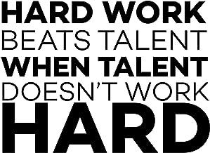 Motivational Wall Decal Quote | Hard Work Beats Talent Vinyl Decor for Football, Soccer, Basketball, Baseball, Volleyball,...